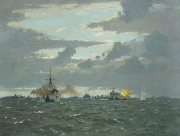 Wilkinson, Norman, 1878-1971; Destroyers Bombing Shore Batteries, 6 June 1944